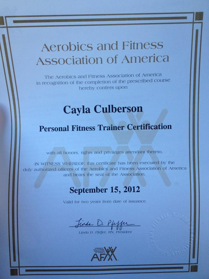 AFAA Certified Personal Trainer! | Run For Your Life